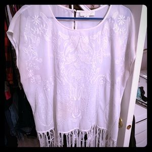Short sleeve fringe shirt